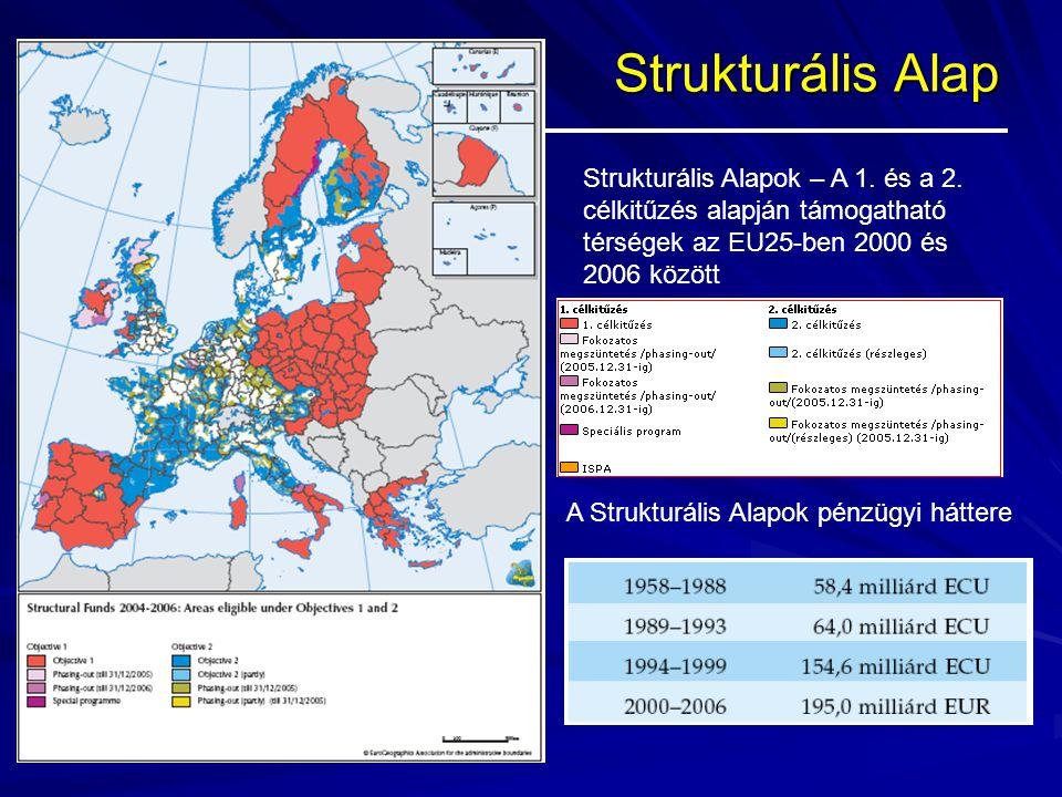 Strukturális Alap Strukturális Alapok – A 1. és a 2. célkitűzés alapján támogatható térségek az EU25-ben 2000 és 2006 között A Strukturális Alapok pén