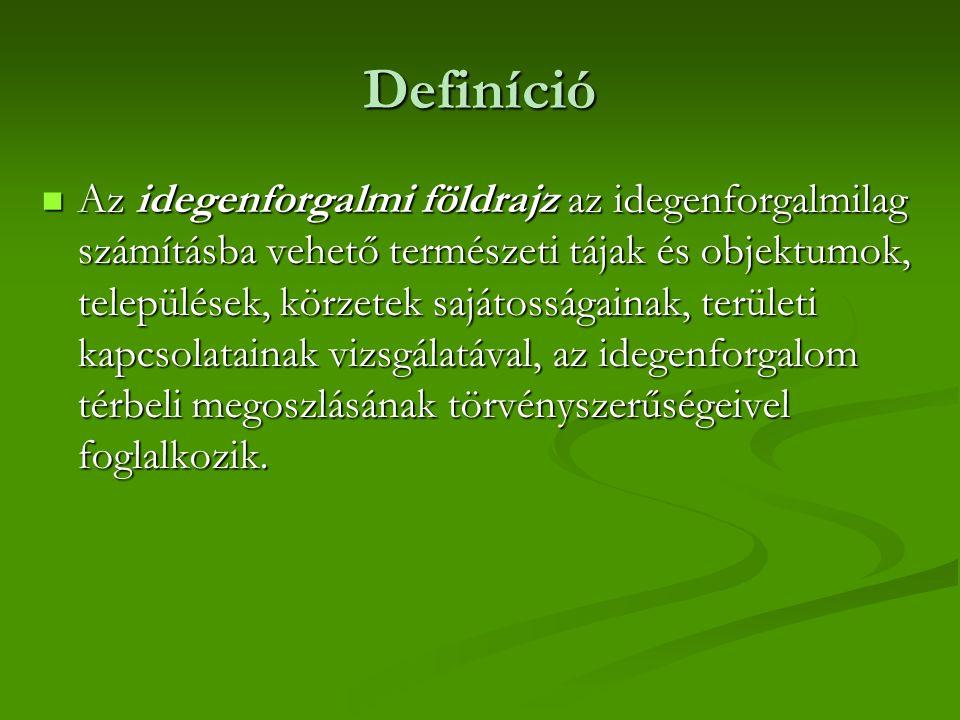 Definíció Az idegenforgalmi földrajz az idegenforgalmilag számításba vehető természeti tájak és objektumok, települések, körzetek sajátosságainak, ter