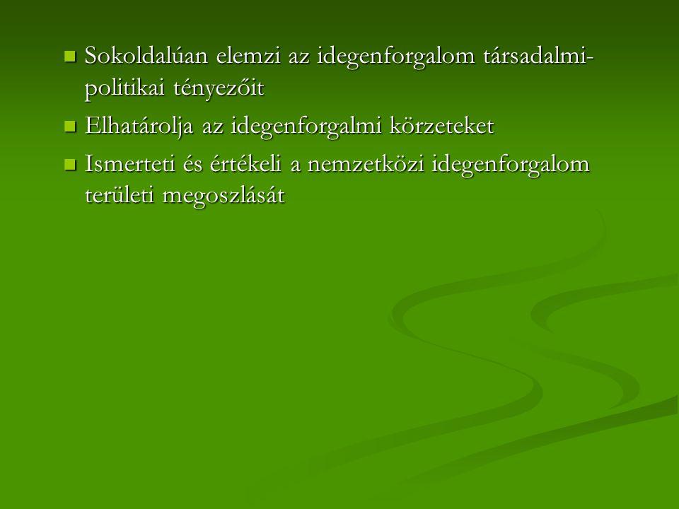 Sokoldalúan elemzi az idegenforgalom társadalmi- politikai tényezőit Sokoldalúan elemzi az idegenforgalom társadalmi- politikai tényezőit Elhatárolja