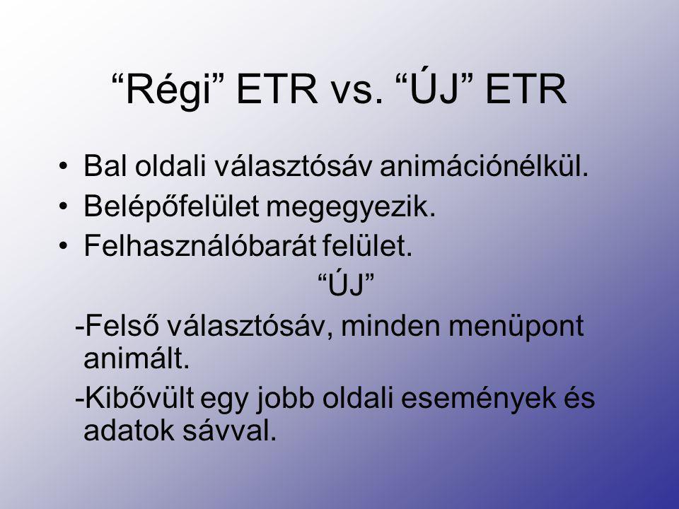 """""""Régi"""" ETR vs. """"ÚJ"""" ETR Bal oldali választósáv animációnélkül. Belépőfelület megegyezik. Felhasználóbarát felület. """"ÚJ"""" -Felső választósáv, minden men"""