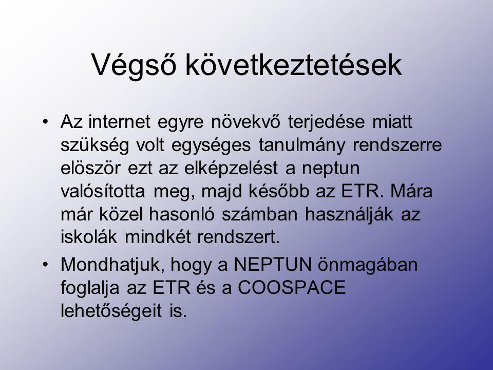 Végső következtetések Az internet egyre növekvő terjedése miatt szükség volt egységes tanulmány rendszerre elöször ezt az elképzelést a neptun valósít