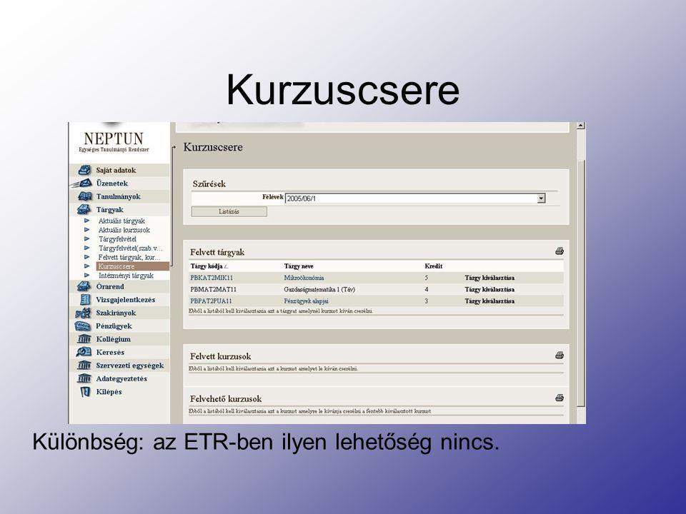 Vizsgajelentkezés Az ETR-hez hasonlóan a Meghirdetett időpontok alapján választhatunk vizsgaidőpontot.