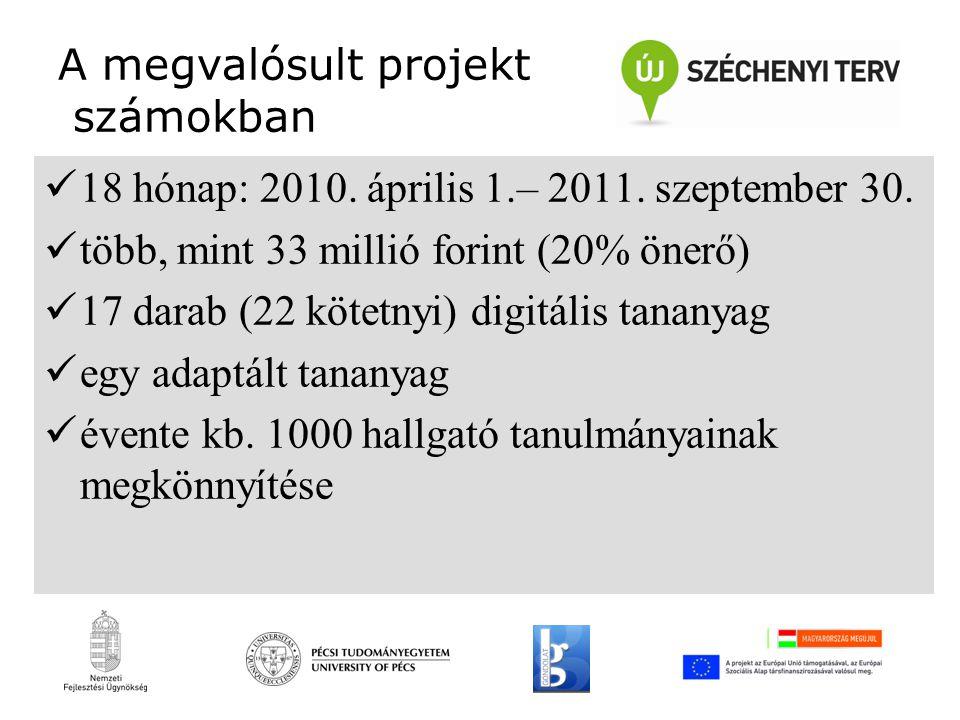 A megvalósult projekt számokban 18 hónap: 2010. április 1.– 2011.