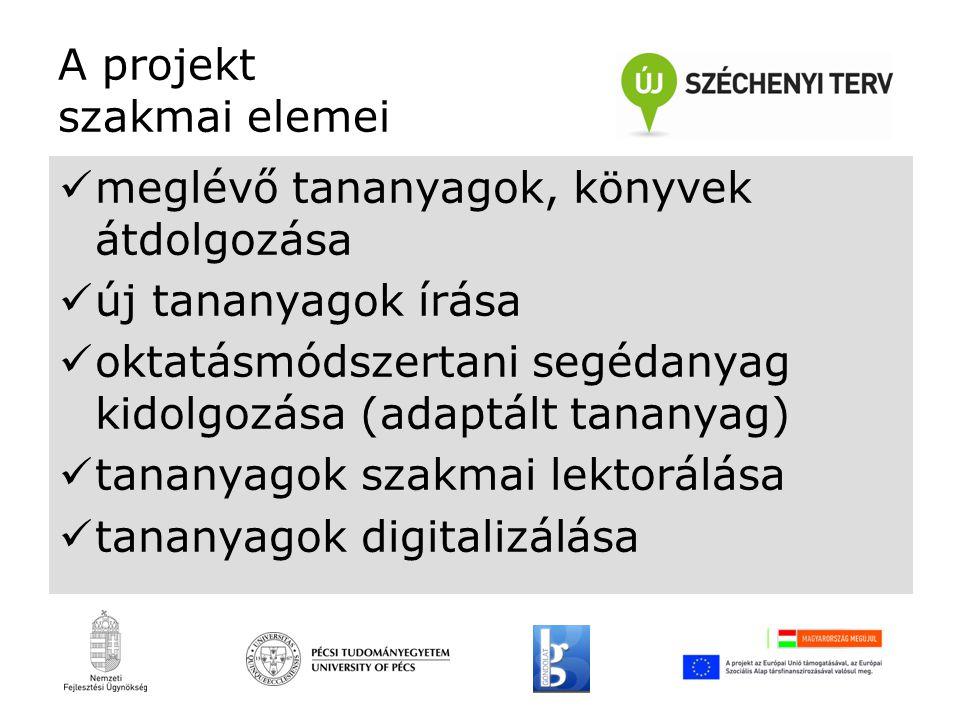 A projekt szakmai elemei meglévő tananyagok, könyvek átdolgozása új tananyagok írása oktatásmódszertani segédanyag kidolgozása (adaptált tananyag) tananyagok szakmai lektorálása tananyagok digitalizálása