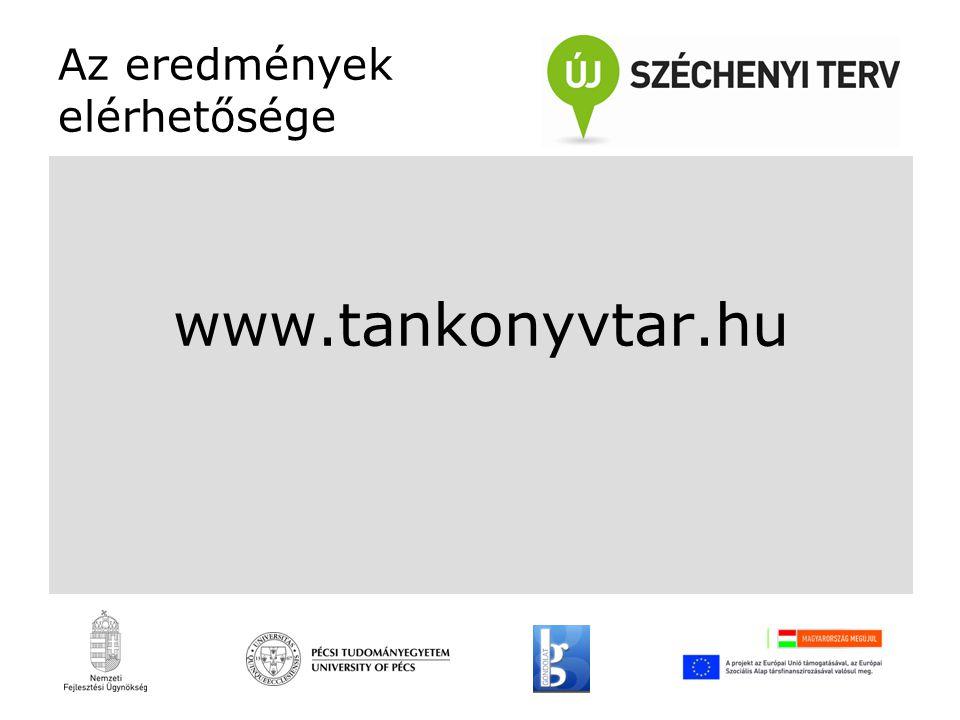 Az eredmények elérhetősége www.tankonyvtar.hu