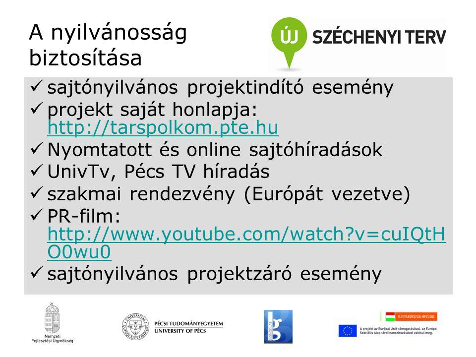 A nyilvánosság biztosítása sajtónyilvános projektindító esemény projekt saját honlapja: http://tarspolkom.pte.hu http://tarspolkom.pte.hu Nyomtatott és online sajtóhíradások UnivTv, Pécs TV híradás szakmai rendezvény (Európát vezetve) PR-film: http://www.youtube.com/watch v=cuIQtH O0wu0 http://www.youtube.com/watch v=cuIQtH O0wu0 sajtónyilvános projektzáró esemény