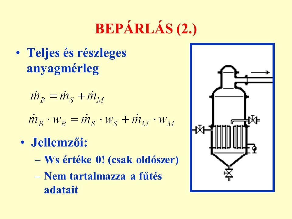 BEPÁRLÁS (2.) Teljes és részleges anyagmérleg Jellemzői: –Ws értéke 0! (csak oldószer) –Nem tartalmazza a fűtés adatait