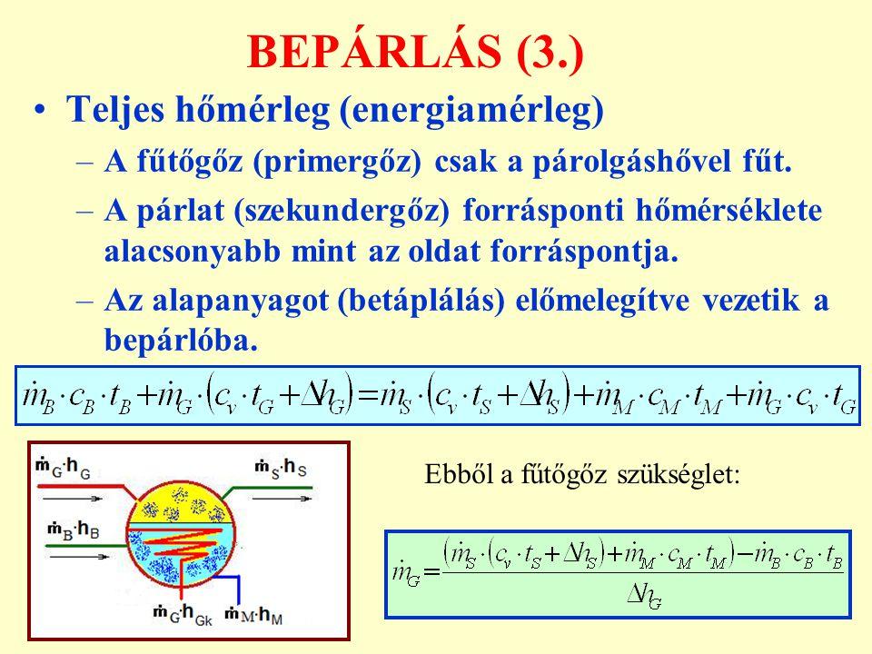 BEPÁRLÁS (3.) Teljes hőmérleg (energiamérleg) –A fűtőgőz (primergőz) csak a párolgáshővel fűt. –A párlat (szekundergőz) forrásponti hőmérséklete alacs