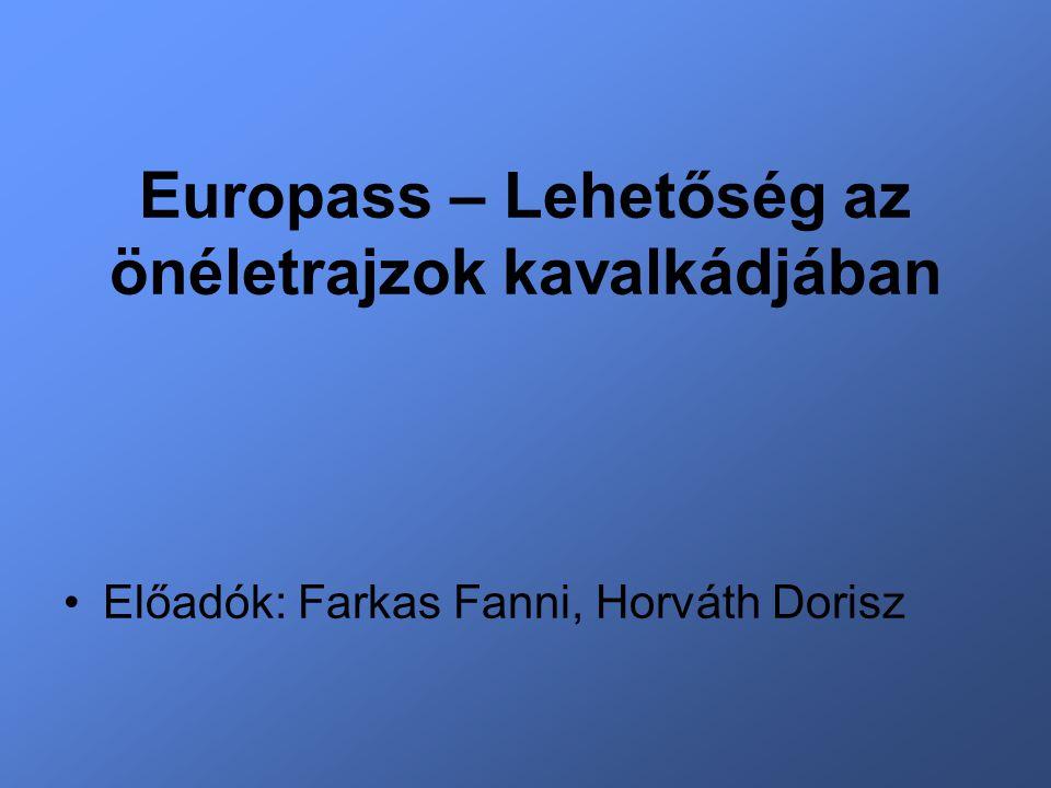 Europass – Lehetőség az önéletrajzok kavalkádjában Előadók: Farkas Fanni, Horváth Dorisz