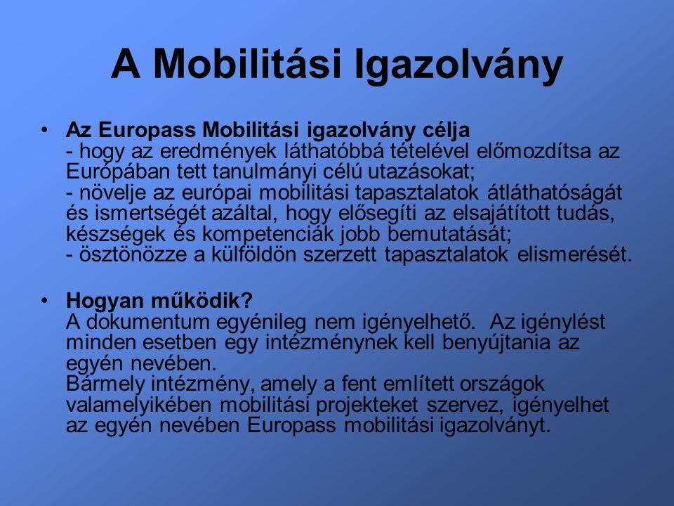 A Mobilitási Igazolvány Az Europass Mobilitási igazolvány célja - hogy az eredmények láthatóbbá tételével előmozdítsa az Európában tett tanulmányi célú utazásokat; - növelje az európai mobilitási tapasztalatok átláthatóságát és ismertségét azáltal, hogy elősegíti az elsajátított tudás, készségek és kompetenciák jobb bemutatását; - ösztönözze a külföldön szerzett tapasztalatok elismerését.