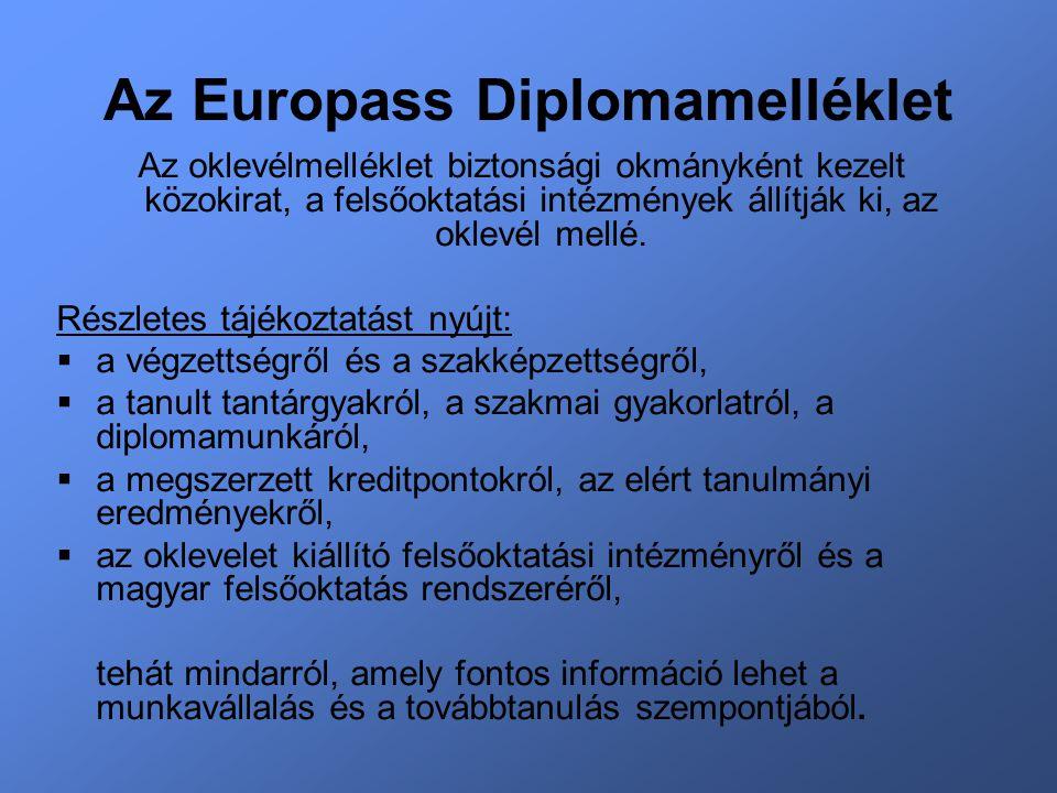 Az Europass Diplomamelléklet Az oklevélmelléklet biztonsági okmányként kezelt közokirat, a felsőoktatási intézmények állítják ki, az oklevél mellé.