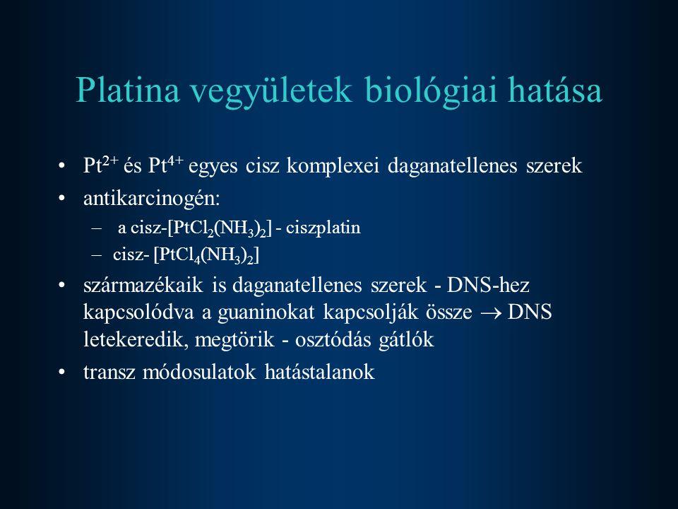 Platina vegyületek biológiai hatása Pt 2+ és Pt 4+ egyes cisz komplexei daganatellenes szerek antikarcinogén: – a cisz-[PtCl 2 (NH 3 ) 2 ] - ciszplati