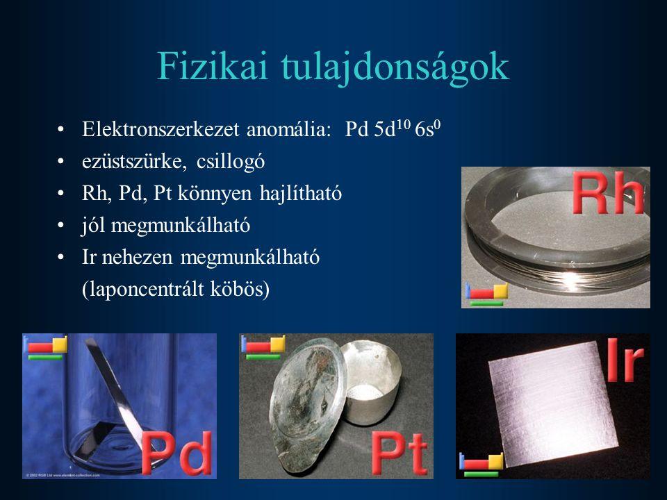 Fizikai tulajdonságok Elektronszerkezet anomália: Pd 5d 10 6s 0 ezüstszürke, csillogó Rh, Pd, Pt könnyen hajlítható jól megmunkálható Ir nehezen megmu