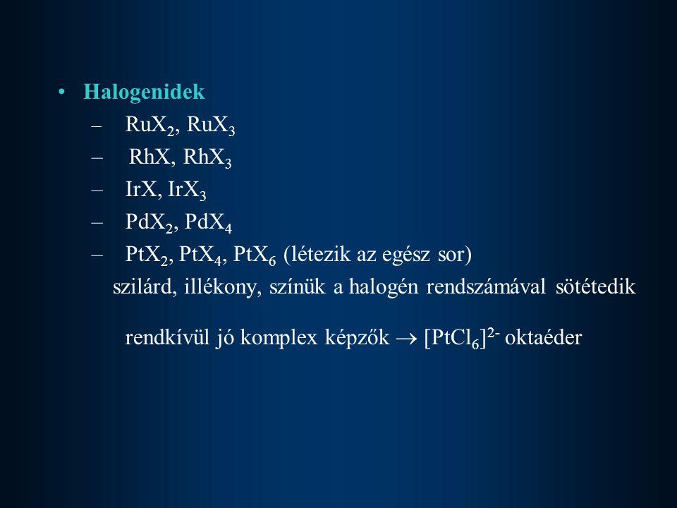 Halogenidek – RuX 2, RuX 3 – RhX, RhX 3 –IrX, IrX 3 –PdX 2, PdX 4 –PtX 2, PtX 4, PtX 6 (létezik az egész sor) szilárd, illékony, színük a halogén rend