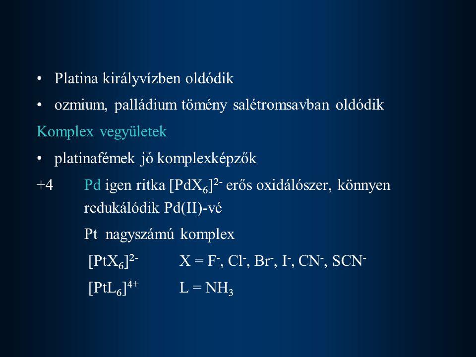 +2 oxidációs állapot a leggyakoribb [PdX 4 ] 2- [PtX 4 ] 2- [PtL 4 ] 2+ [PtX 2 L 2 ] [PtCl 4 ] 2- + 2NH 3 = [PtCl 2 (NH 3 ) 2 ] + 2Cl - ciszplatin, [Pt(NH 3 ) 4 ] 2+ 2HCl = [PtCl 2 (NH 3 ) 2 ] + 2NH 4 + transzplatin síknégyzetes geometria