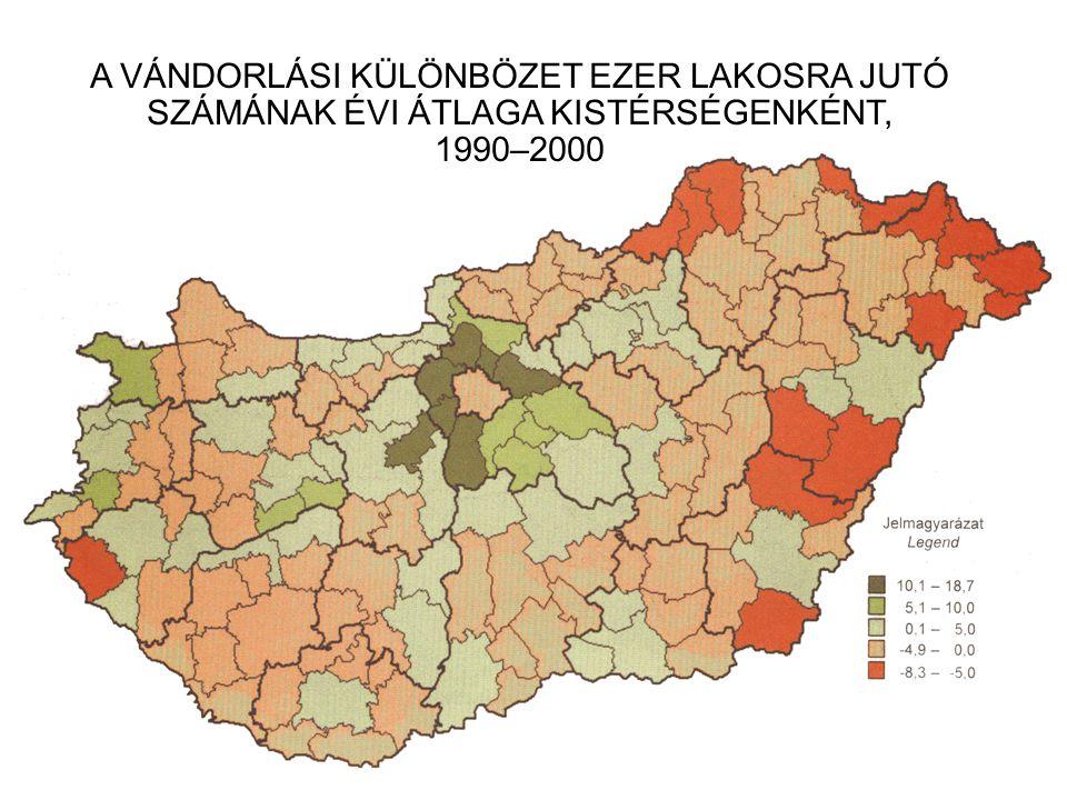 A VÁNDORLÁSI KÜLÖNBÖZET EZER LAKOSRA JUTÓ SZÁMÁNAK ÉVI ÁTLAGA KISTÉRSÉGENKÉNT, 1990–2000
