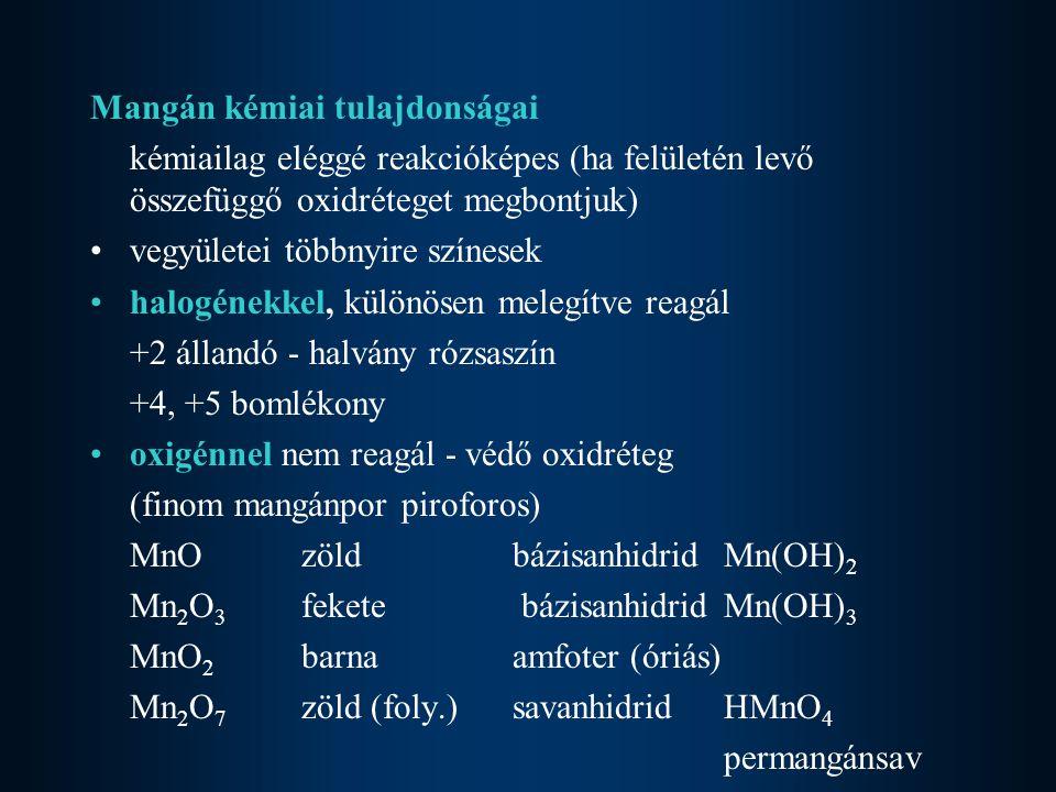 Mangán kémiai tulajdonságai kémiailag eléggé reakcióképes (ha felületén levő összefüggő oxidréteget megbontjuk) vegyületei többnyire színesek halogéne
