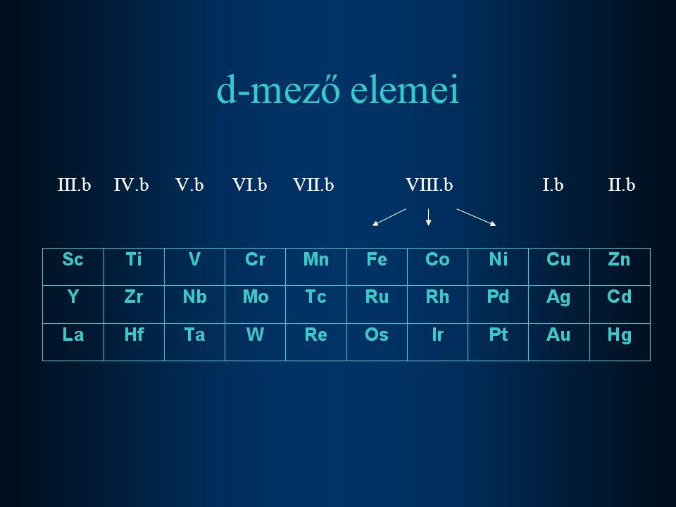 d-mező elemei III.bIV.b V.b VI.b VII.b VIII.b I.b II.b