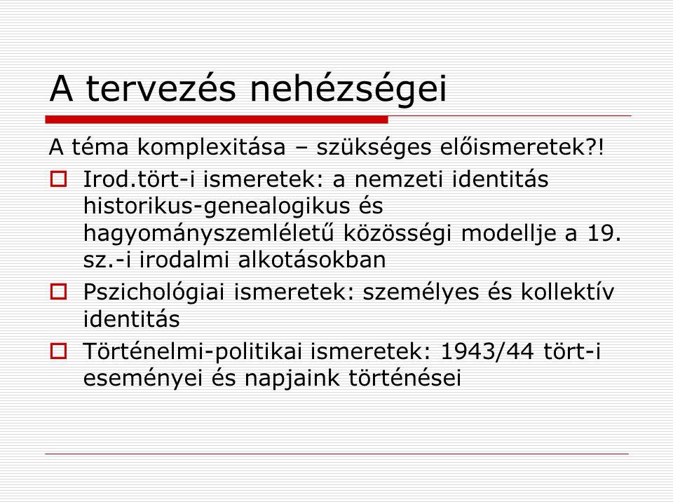 A tervezés nehézségei A téma komplexitása – szükséges előismeretek?!  Irod.tört-i ismeretek: a nemzeti identitás historikus-genealogikus és hagyomány