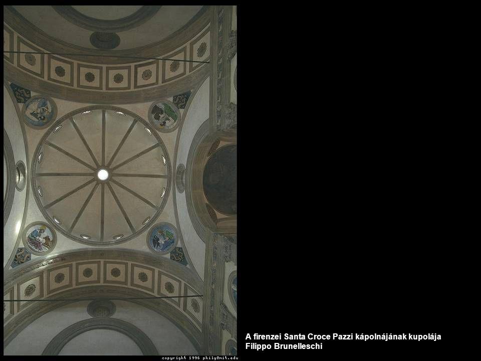 A firenzei Santa Croce Pazzi kápolnájának kupolája Filippo Brunelleschi
