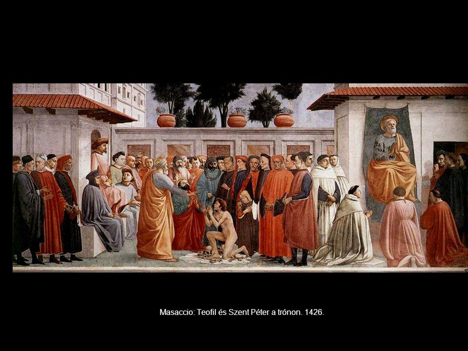 Masaccio: Teofil és Szent Péter a trónon. 1426.
