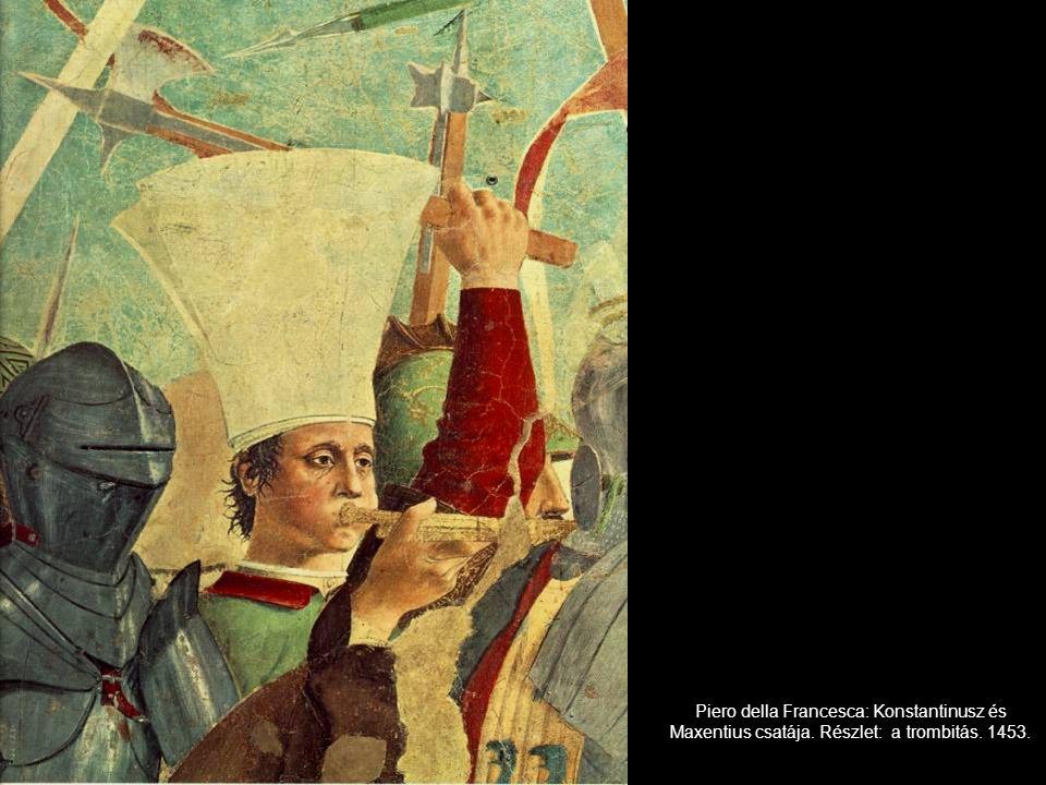 Piero della Francesca: Konstantinusz és Maxentius csatája. Részlet: a trombitás. 1453.