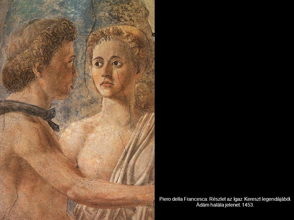 Piero della Francesca: Részlet az Igaz Kereszt legendájából. Ádám halála jelenet. 1453.