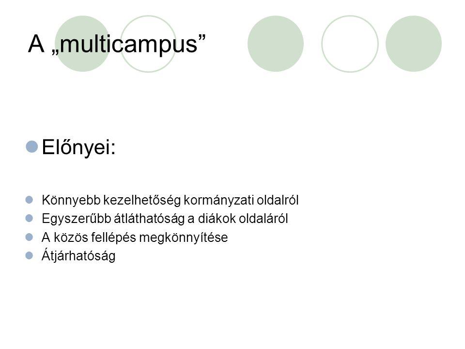 """A """"multicampus Előnyei: Könnyebb kezelhetőség kormányzati oldalról Egyszerűbb átláthatóság a diákok oldaláról A közös fellépés megkönnyítése Átjárhatóság"""