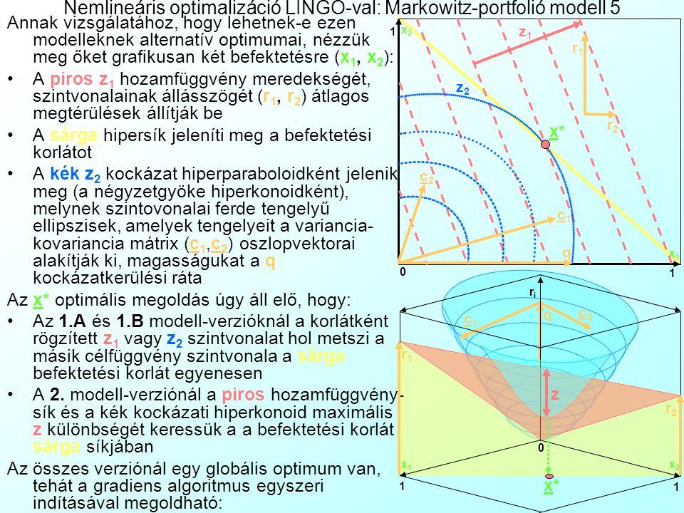 Nemlineáris optimalizáció LINGO-val: Markowitz-portfolió modell 4 Célfüggvények:  i r i x i = z 1  Max /Max.