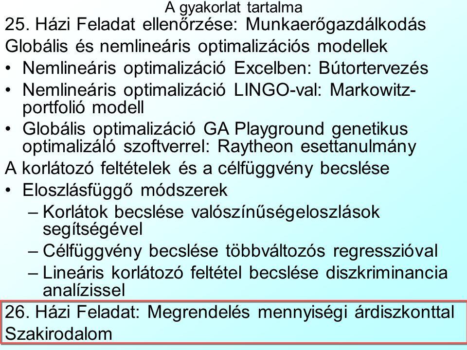 Feltételi koefficiensek és korlát becslése diszkriminancia analízissel A Rollerwerken Schweinfurt Gmbh.