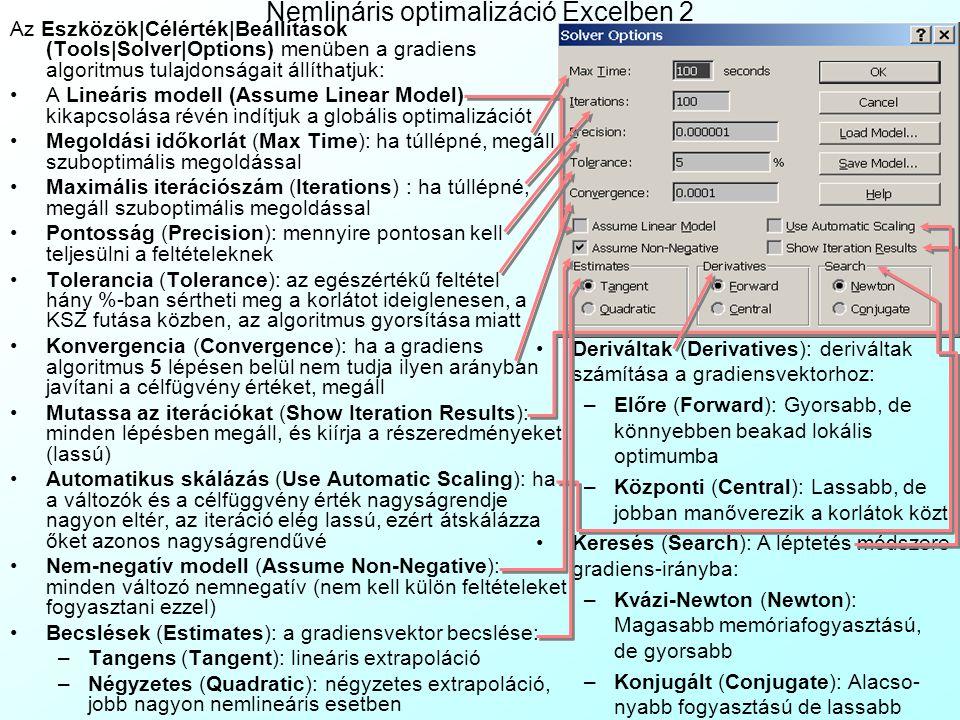 Nemlineáris optimalizáció Excelben 1: Bútortervezés A BlueMarble Kft.