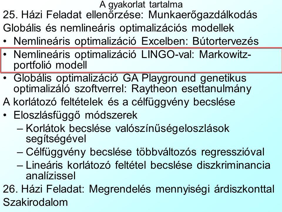 Nemlináris optimalizáció Excelben 3 Az Excel Solver nem vizsgálja lokális optimumok létezésének lehetőségeit (konkáv feltételrendszer, konvex függvény maximalizálása, konkáv minimalizálása), így a gradiens algoritmus beléjük ragadhat Ez ellen úgy védekezhetünk, hogy többször újraindítjuk a Solvert, úgy hogy elötte a változók zöld cellái az értéktartományukba eső random kezdőértéket kapnak, véletlenszámfüggvényt tartalmazó cellákból: –Folytonos változókra: =Rand()*(Felso-Also)+Also –Egészértékű változókra: =Randbetween(Also, Felso) –A Szerkesztés|Irányított beillesztés|Csak értéket (Edit|Paste special|Values only) menü használatával A Frontline Inc.