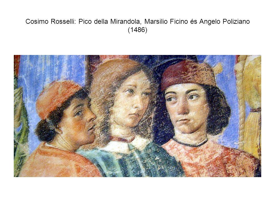 Cosimo Rosselli: Pico della Mirandola, Marsilio Ficino és Angelo Poliziano (1486)