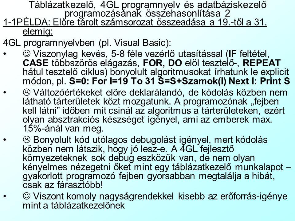 Táblázatkezelő, 4GL programnyelv és adatbáziskezelő programozásának összehasonlítása 1 1-1PÉLDA: Előre tárolt számsorozat összeadása a 19.-től a 31. e