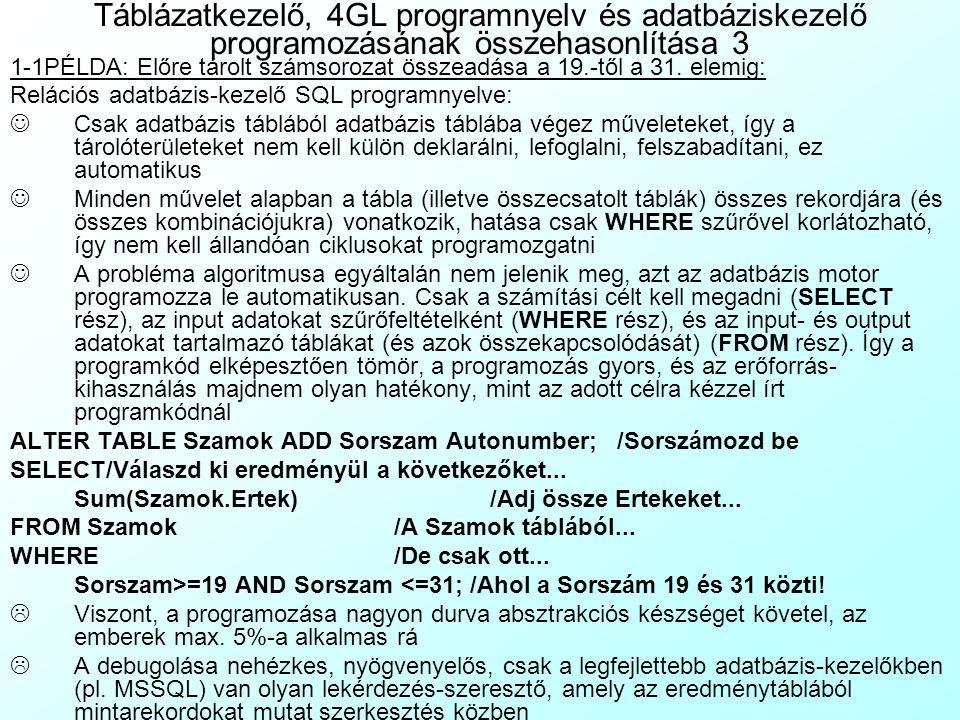 Táblázatkezelő, 4GL programnyelv és adatbáziskezelő programozásának összehasonlítása 2 1-1PÉLDA: Előre tárolt számsorozat összeadása a 19.-től a 31. e