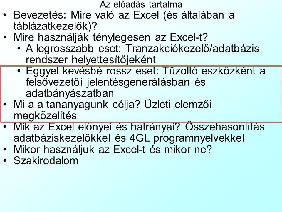 Mire használják ténylegesen az Excel-t? 2 –2. Az Excel alkalmatlanságát tranzakció adatok kezelésére sokáig képes elkenni, hogy a hardverek egyelőre m