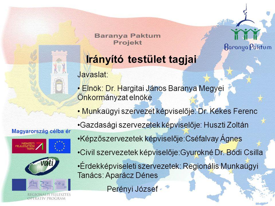 Irányító testület tagjai Javaslat: Elnök: Dr. Hargitai János Baranya Megyei Önkormányzat elnöke Munkaügyi szervezet képviselője: Dr. Kékes Ferenc Gazd