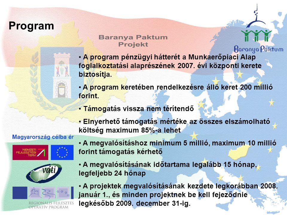 Program A program pénzügyi hátterét a Munkaerőpiaci Alap foglalkoztatási alaprészének 2007. évi központi kerete biztosítja. A program keretében rendel