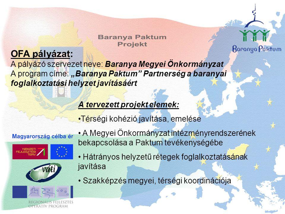 """OFA pályázat: A pályázó szervezet neve: Baranya Megyei Önkormányzat A program címe: """"Baranya Paktum Partnerség a baranyai foglalkoztatási helyzet javításáért A tervezett projekt elemek: Térségi kohézió javítása, emelése A Megyei Önkormányzat intézményrendszerének bekapcsolása a Paktum tevékenységébe Hátrányos helyzetű rétegek foglalkoztatásának javítása Szakképzés megyei, térségi koordinációja"""
