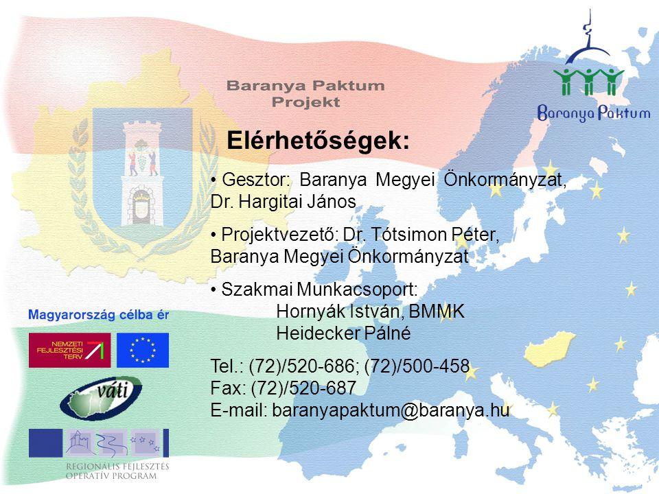Elérhetőségek: Gesztor: Baranya Megyei Önkormányzat, Dr. Hargitai János Projektvezető: Dr. Tótsimon Péter, Baranya Megyei Önkormányzat Szakmai Munkacs