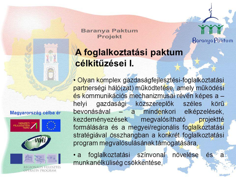 A foglalkoztatási paktum célkitűzései I. Olyan komplex gazdaságfejlesztési-foglalkoztatási partnerségi háló(zat) működtetése, amely működési és kommun