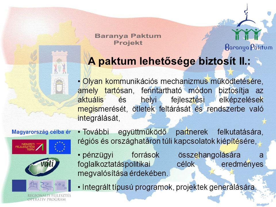 A paktum lehetősége biztosít II.: Olyan kommunikációs mechanizmus működtetésére, amely tartósan, fenntartható módon biztosítja az aktuális és helyi fe