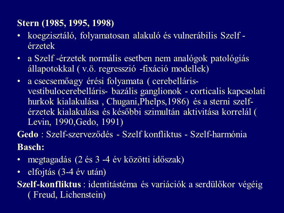 Stern (1985, 1995, 1998) koegzisztáló, folyamatosan alakuló és vulnerábilis Szelf - érzetek a Szelf -érzetek normális esetben nem analógok patológiás