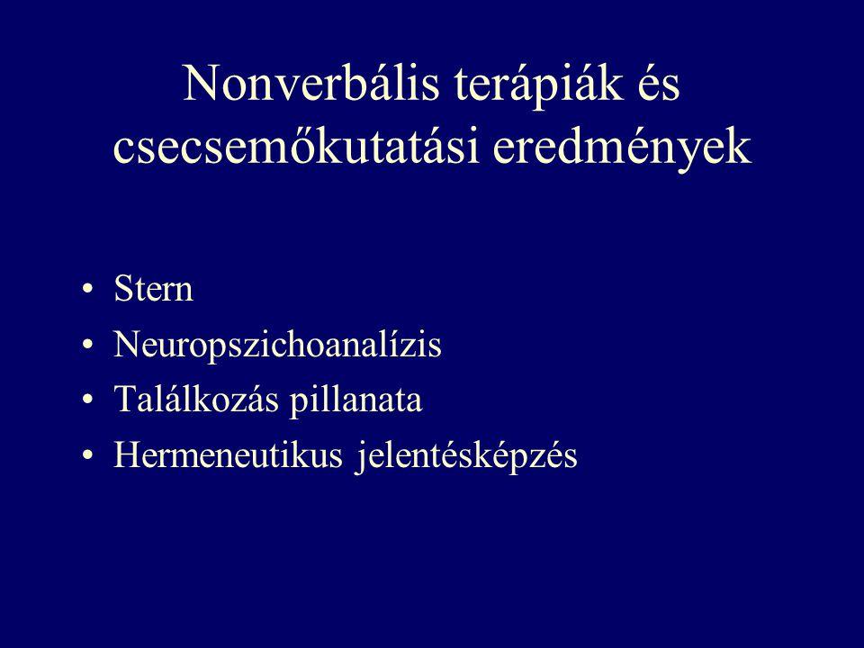 Nonverbális terápiák és csecsemőkutatási eredmények Stern Neuropszichoanalízis Találkozás pillanata Hermeneutikus jelentésképzés
