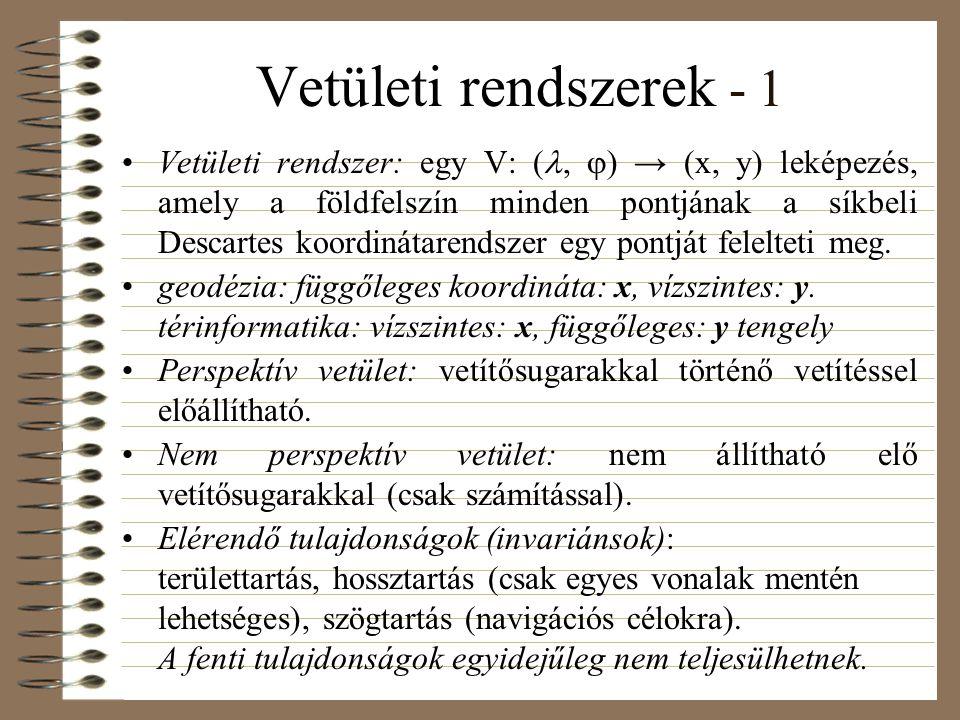 Vetületi rendszerek - 1 Vetületi rendszer: egy V: (,  ) → (x, y) leképezés, amely a földfelszín minden pontjának a síkbeli Descartes koordinátarendszer egy pontját felelteti meg.