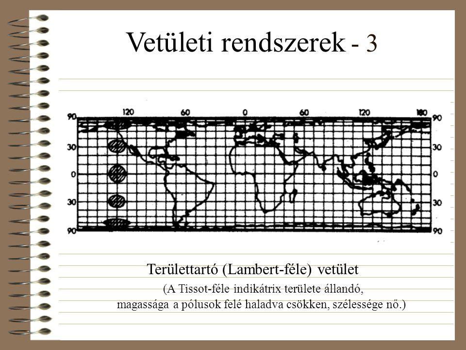 Vetületi rendszerek - 3 Területtartó (Lambert-féle) vetület (A Tissot-féle indikátrix területe állandó, magassága a pólusok felé haladva csökken, szélessége nő.)