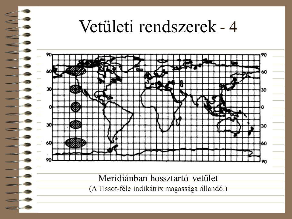 Vetületi rendszerek - 4 Meridiánban hossztartó vetület (A Tissot-féle indikátrix magassága állandó.)