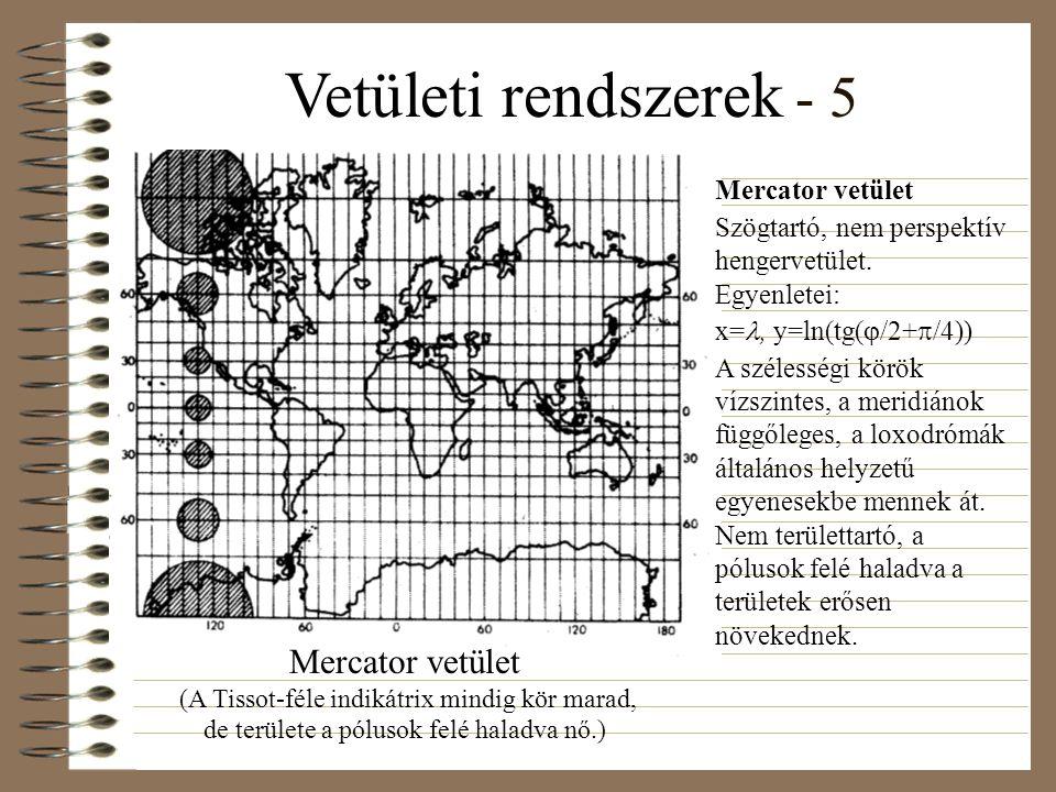 Vetületi rendszerek - 5 Mercator vetület Szögtartó, nem perspektív hengervetület.