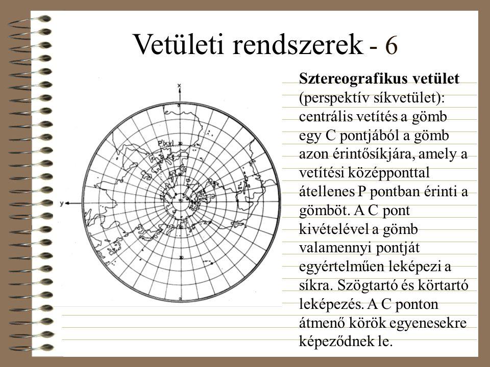 Vetületi rendszerek - 6 Sztereografikus vetület (perspektív síkvetület): centrális vetítés a gömb egy C pontjából a gömb azon érintősíkjára, amely a vetítési középponttal átellenes P pontban érinti a gömböt.