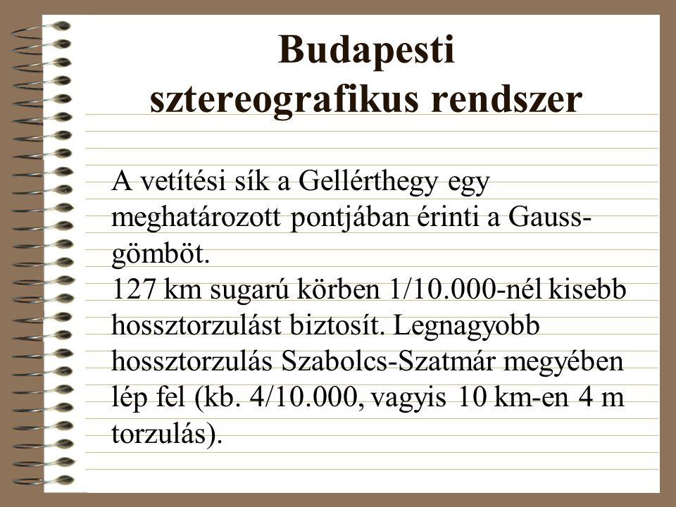 Budapesti sztereografikus rendszer A vetítési sík a Gellérthegy egy meghatározott pontjában érinti a Gauss- gömböt.